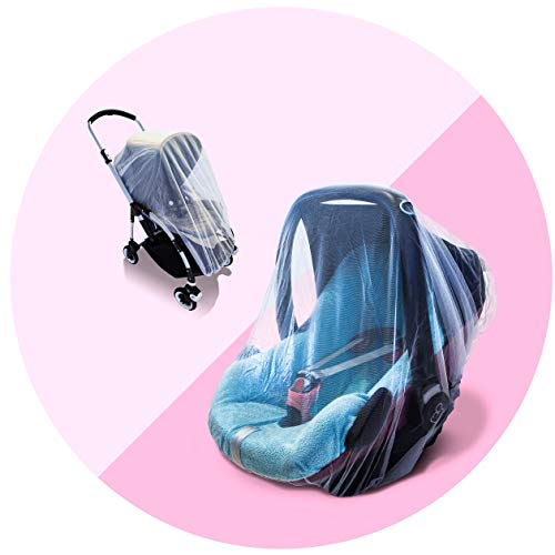 The Original Drawstring Baby Mosquito Net - Perfect Fit for Strollers, Car Seats, Bassinets and Carriers - Ultra Fine Mesh Protection Against Mosquitos, No-See-Ums, and Wasps - no Harmful Chemicals.