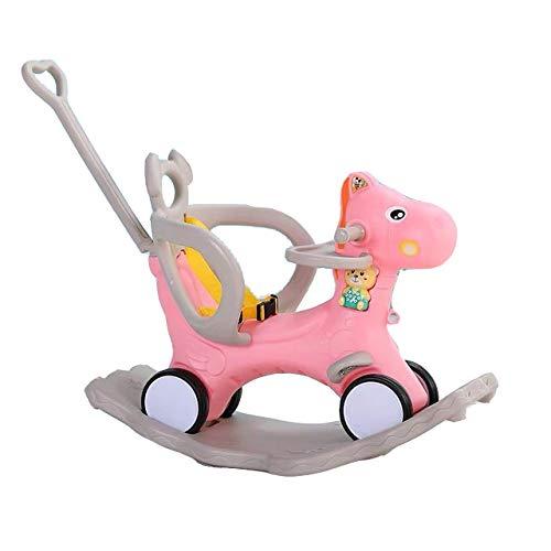 LITIAN Kinderschaukelpferd Schaukelstuhl Dual-Use-Musik Multifunktions-Trolley Baby-Spielzeug aus Plastik-Baby-Schaukelpferd (mit Dinner Plate) Pink