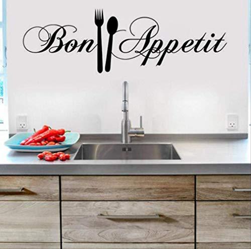 Muurstickers doe-het-zelf mes en vork verwijderbare muursticker familie huissticker 58 * 18Cm muurschildering huisdecoratie keuken PVC behang
