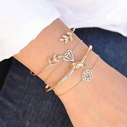 CXWK 4 unids/Set Moda Bohemia Hoja Mano Brazalete de Cadena de eslabones Pulsera Brazalete para Mujeres Pulseras de Oro joyería