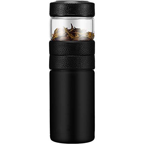 Umora 耐熱二層ステンレス ガラス 水筒—600ml ダブルウォール ミニ ボトル 茶こし カラー おシャレ 茶葉を収納 軽量水筒(ブラック)