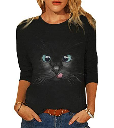 Tomwell Damen Sweatshirt Langarmshirt Mit Katzenmotiv Tierdruck Oberteile Herbst Winter Rundhals Bluse Casual Loose Pullover Shirts Hemd Stil E M