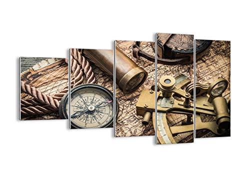 Quadro su Vetro - Cinque 5 Tele - Larghezza: 100cm, Altezza: 60cm - Numero dell'immagine 3730 - Pronto da Appendere - Elementi Multipli - Arte Digitale - Moderno - Quadro in Vetro - GEG100x60-3730