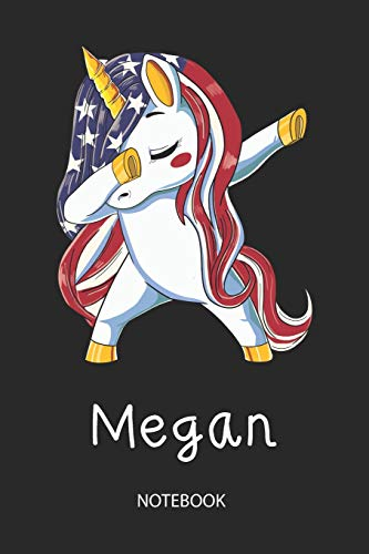Megan - Notebook: Blank Lined Personalized & Customized Name Patriotic USA Flag...
