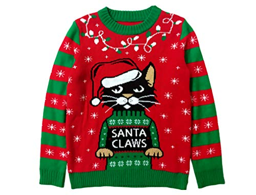 Santa Claws Cat Ugly Christmas Sweater Funny Men Women Festive Holiday Sweater X-Large Multicolor