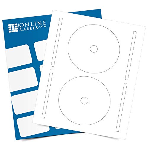 4.65 Inch Full-Face CD/DVD Labels & Spine Label - Pack of 1,000 Sets of CD/DVD Stickers, 500 Sheets - Inkjet/Laser Printer - Online Labels