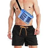 Rovtop Costumi Uomo, Costume Mare Uomo Elasticizzati Costume Bagno Uomo Quick Dry 5 Tasche con Tasca Impermeabile per Cellulare (Taglia L 38-40)