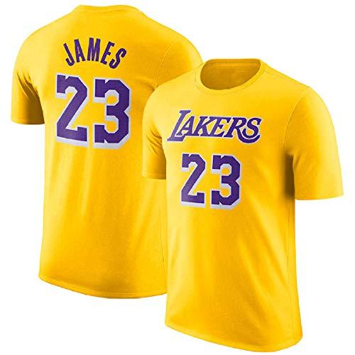 Camiseta De La NBA Lakers Camiseta De Manga Corta James 23rd Versión Retro Traje De Entrenamiento con Media Manga para Los Fanáticos,Yellow-XL