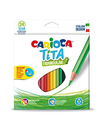 Carioca 42787 Tita - Scatola da 24 matite colorate triangolari