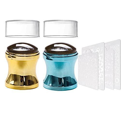 EBANKU 2 Stück Nail Art Stamper mit 4 Stück Schabern, Soft Stamper für French Smile Line Werkzeuge, Nail Art Stamping Stamper für Manikürewerkzeuge (Gold+Blau)