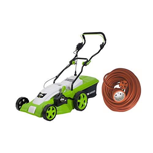 Elektrischer Rasenmäher 1800 W Vitogarden + elektrische Verlängerung 20 m, Rasenfläche 800 m², Schnitt 42 cm, 3 Schnitthöhen, 50 l