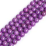 Sweet & Happy Girl's Gemstone Beads Strand Cuentas espaciadoras semipreciosas Redondas Naturales de 4 mm para bisutería, 38 cm, 8mm Purple, 8 mm