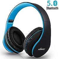 Puersit Auriculares Bluetooth de Diadema con Micrófono Cancelación Ruido Hi-Fi Estéreo Auriculares Inalámbricos Bluetooth Plegable para Tablet/TV/PC/Móviles