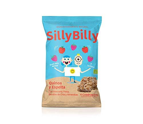 SillyBilly - Barritas BIO - Pack de 14 bolsitas - Quinoa, Espelta, Manzana, Fresa, Semillas de Chía y Almendras - Cuadritos horneados…