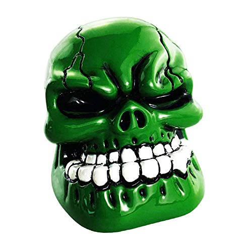 Abfer Shift Knobs Skull Gear Stick Shifter Knob with Big Tooth Shifting Lever Fit Most Automatic Manual Transmission Cars Truck Vehicle (Green)