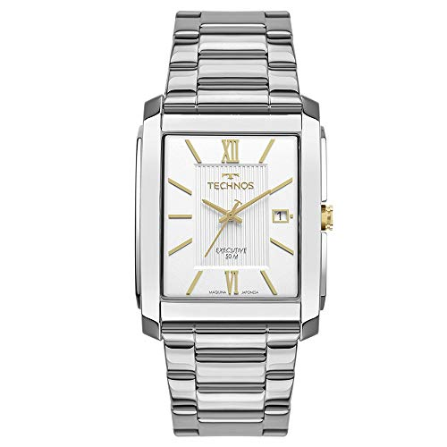 Relógio Technos Masculino Ref: 2115mwx/1k Retangular Dourado