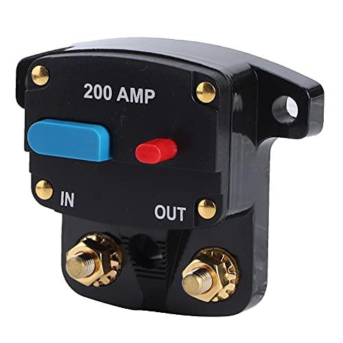 FAMKIT Disyuntor de Auto-Recuperación de Audio para Coche Protección Rearmable Negro 200A 12V ABS