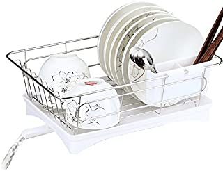 Dish Drying Rack, Rustproof Stainless Steel Metal Wire Medium Dish Drainer Drying Rack,Kitchen Plate Cultery Cup Utensil Organizer Holder With Drip Tray,3-Piece Set