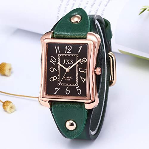 jingshu Reloj de Las Mujeres de la Moda Casual cinturón Hombres Reloj Cuarzo Cuadrado Reloj Estudiante Reloj de la Pareja Verde