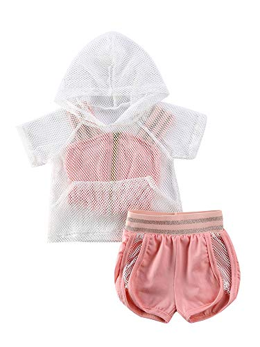 Toddler Baby Girl Clothes Mesh Hoodie Pullover Sweatshirt Top+Zipper Strap Crop Top+Elastic Waist Shorts 3PCS Tracksuit Sports Set (Pink, 2-3 Years)