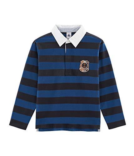 Petit Bateau Jungen Polo ML_4971901 Poloshirt, Mehrfarbig (Smoking/Limoges 01), 128 (Herstellergröße: 8ans/128cm)