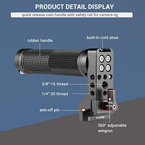 SmallRig Top NATO Handle with NATO Rail Quick Release Handgrip for DLSR Camera Cage (Rubber) - 2084