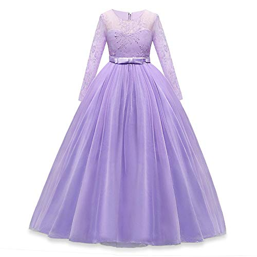 HUAANIUE Girls Lace Pageant Party Dresses Wedding Flower Girl Maxi Gowns Long Sleeve, Lavender, Asian 160, US11-12 Years