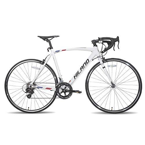 Hiland Road Bike 700c Racing Bike City Commuter Bicycle with 14 Speeds Drivetrain 60cm White