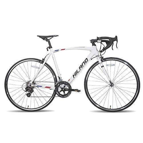 Hiland Road Bike 700c Racing Bike City Commuter Bicycle with 14 Speeds Drivetrain 60cm White