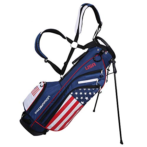 PROSiMMON Golf DRK 7' Lightweight Golf Stand Bag with Dual Straps - USA Flag