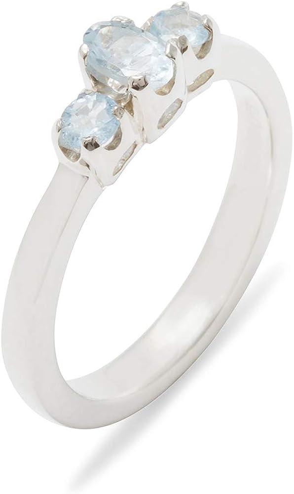 925 Sterling Max 67% OFF Silver Natural Aquamarine Siz 5 popular Trilogy Ring Womens -