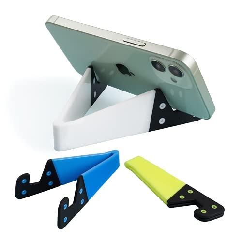 Kemoxan - Soporte para teléfono móvil y Tableta, Soporte para Escritorio, Universal, Plegable, tamaño de Bolsillo, Resistente al Agua, 3 Unidades, Color Amarillo Fluorescente, Azul, Blanco