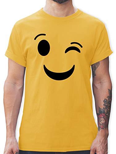 Karneval & Fasching - Zwinker Emoticon Karneval - XL - Gelb - Shirt Partner - L190 - Tshirt Herren und Männer T-Shirts