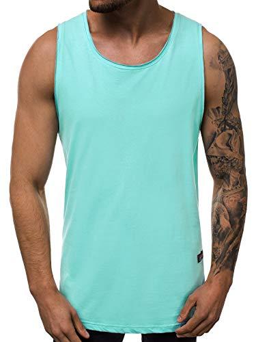 OZONEE Herren T-Shirt T Shirt Tshirt Kurzarm Kurzarmshirt Tee Top Sport Sportswear Rundhals U-Neck Rundhalsausschnitt Unifarbe Basic Einfarbig O/1205 PFEFFERMINZ M