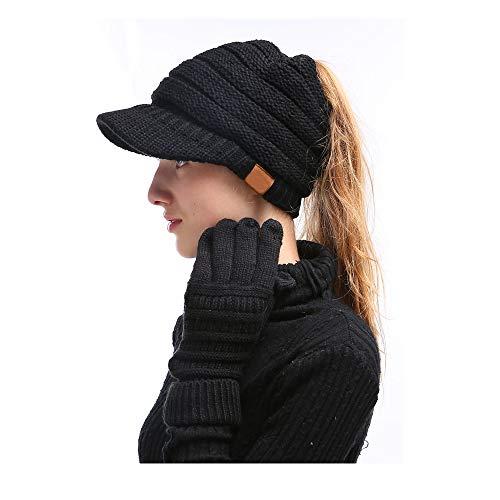 Umily Mujer Gorros con Coleta - Caliente Gorro de Punto de Invierno y el Agujero - Sombreros de Invierno Knit Ponytail Beanie Hat