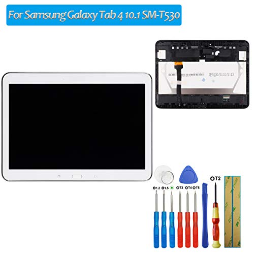 E-yiiviil nieuwe vervanging LCD-scherm compatibel met Samsung Galaxy Tab 4 10.1 SM-T530 SM-T531 SM-T533 SM-T535 LCD Touch Screen Display Assembly wit frame met tools