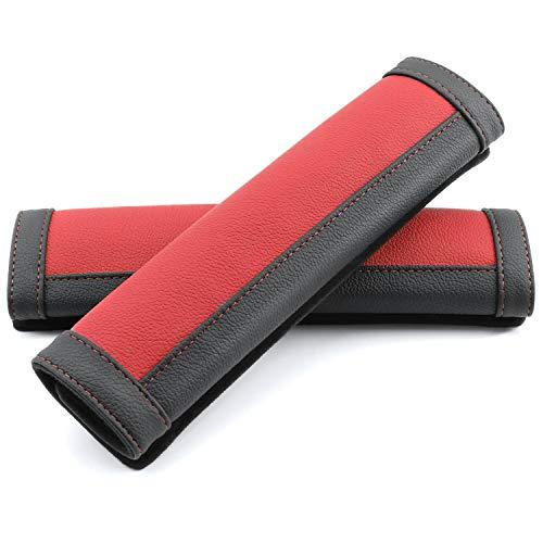 COFIT Mikrofaserleder Gurtpolster Strapazierfähige Autositzgurtpolster mit Komfortablem Schulterschutz für Ihr Fahren, 2 Stück, Rot und Schwarz