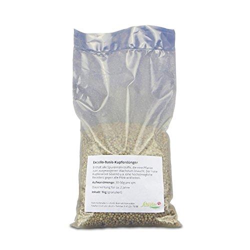 Basis-Dünger mit hohem Kupfer-Anteil - Excello-Granulat im 1 kg Beutel - Pilzresistenz und besseres Wachstum mit Langzeit-Wirkung - Produkt von Garten Schlüter