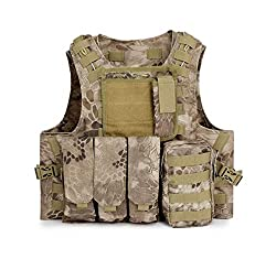 ESA Supplies Best Tactical Molle Paintball Vest Paintball Combat Training Vest Soft Vest Tan Python Pattern