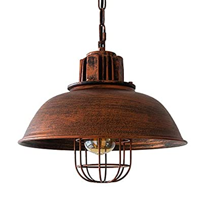 AIDOS LED Pendant Light with Dome Black Shade for Bar, Rustic Hanging Pendant Lighting with Industrial, Retro Style, Vintage Loft Pendent Lights with Metal Finish for Farmhouse, Kitchen Island,Loft