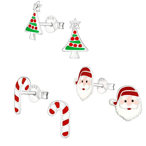 925 Sterling Silver (SET OF 3) Crystals Christmas Tree Santa Claus Candy cane Stud Earrings 28468