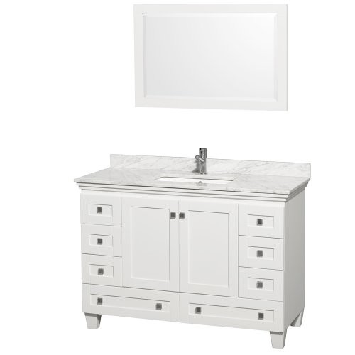 Wyndham Collection Acclaim 48 inch Single Bathroom Vanity in White, White Carrara Marble Countertop, Undermount Square Sink, and 24 inch Mirror
