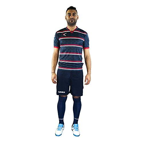 LEGEA Beira Completo da calcio maglietta e pantaloncini, personalizzabili, KIT0043, ROSSO-BIANCO, L