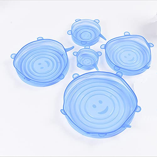 TONGDA Tapas de Silicona Elásticas,12 Tapas Silicona Ajustables,Reutilizable Fundas para Alimentos Tapa Tazas,Boles Tarros,Lavavajillas,Refrigerador,Refrigerador-Redondos