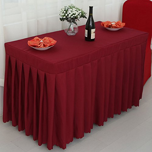 Nappes Fitted Table Skirt Cover Wedding Banquet With Top Topper Nappe - Rouge à vin ( Couleur : Vin rouge , taille : 40*120*75CM )