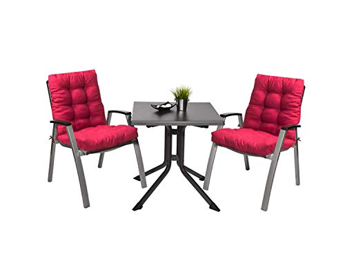 Pack 2 Cojines con Respaldo de Silla Jardin Conjunto Cojin de Asiento para Interior y Exterior Cómodo. Cojines para sillas, tumbonas, mecedoras terraza. (Rojo)