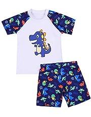 Bañador para Niño de Dos Pieza Estampado Dinosaurio Traje de Baño Camiseta Manga Corta + Pantalón Corto para Playa Piscina Niños 2-12 Años