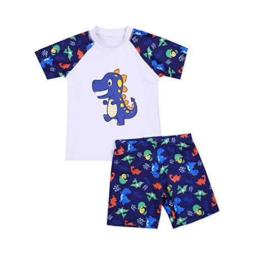 WangsCanis 2 Pezzi di Costume da Bagno Ragazzo T-Shirt Manica Corta Pantaloncini Dinosauro Vestito per Bambini 2-12 Anni Costume da Bagno Diviso in Piscina da Spiaggia (Bianca, 7-8 Anni)