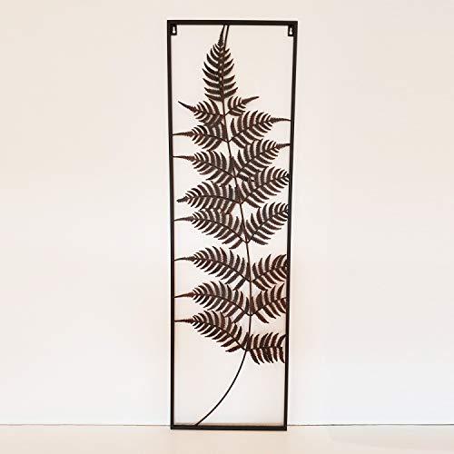 Metallbild Florale Wandbilder Farn Wanddekoration aus Metall 102cm x 33cm Vintage Dekoration für Schlafzimmer Küche Wohnzimmer Garten