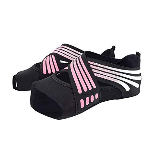 F Fityle Antideslizante mujeres hombres zapatos de Yoga de entrenamiento de danza Pilates calcetines de agarre para hacer ejercicio de danza - Rosa L